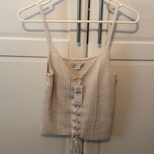 American Eagle Ivory Lace Up Tanktop